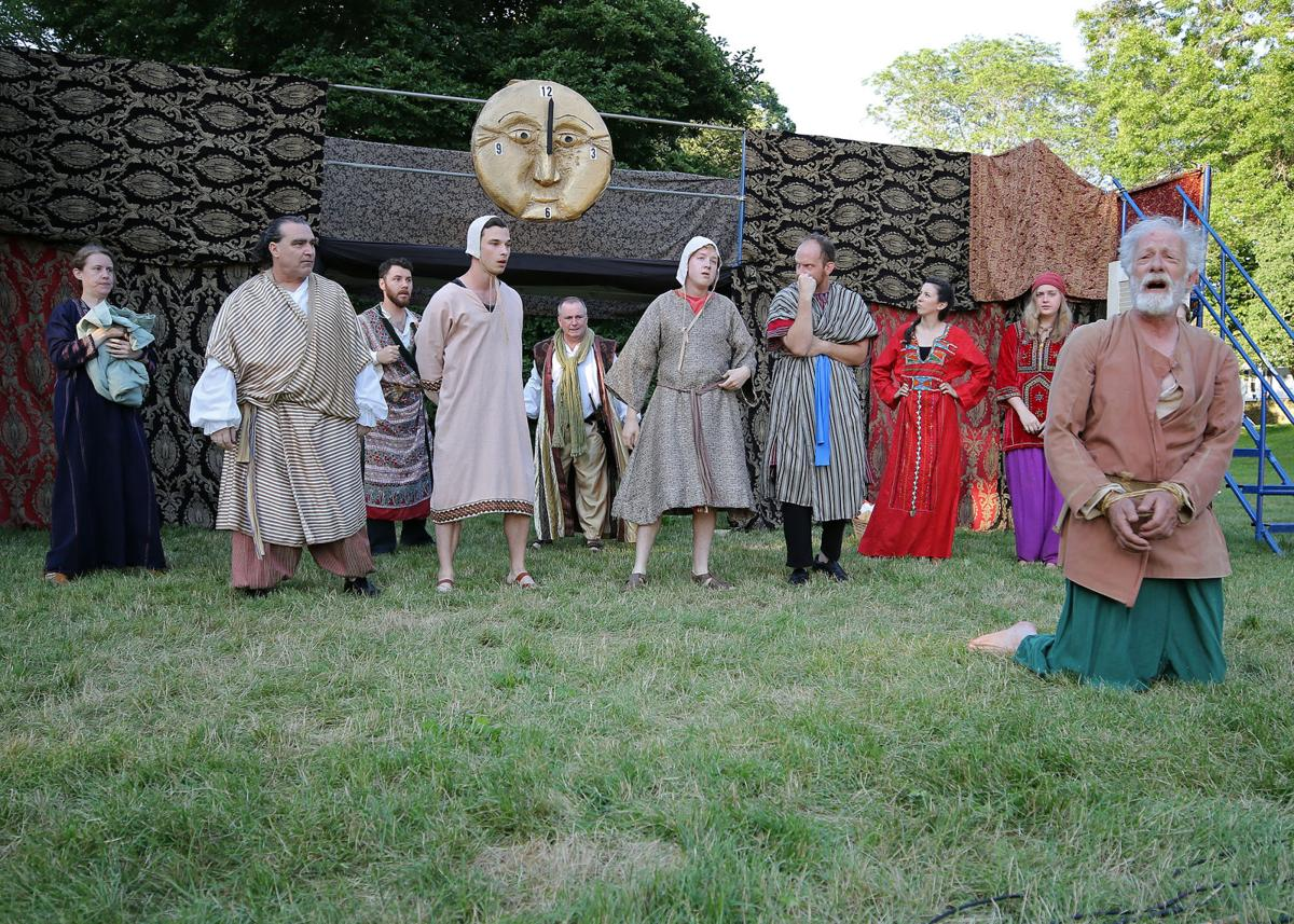 """Cast members of New London's Flock Theater were in Westerly's Wilcox Park Thursday evening, June 27th, 2019, to present their production of William Shakespeare's """"The Comedy of Errors"""". From Left, Aimee Blanchette as Adriana, Brian Olsen as Angelo the Goldsmith, Micheal Hinton as Antipholus of Syracuse, Brandon Tyler as Dromio of Syracuse, Fergus Milton as the Second Merchant, Avery Moody as Dromio of Ephesus, Eric Michaelian as Antipholus of Ephesus, Danielle McGuire as Luciana, Phi Kasem-Beg as Luce/Pinch, and Malcolm Cameron as Aegeon. 