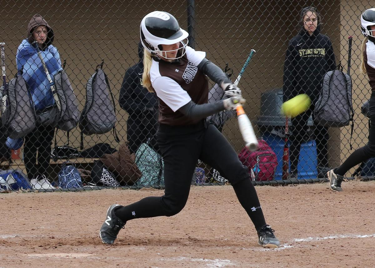 Haley DelMonaco (6) connects while at bat for Stonington in the Stonington vs Killingly girls varsity softball game played Thursday, April 11th, 2019, at Stonington High School. | Jackie L. Turner, Special to The Sun.