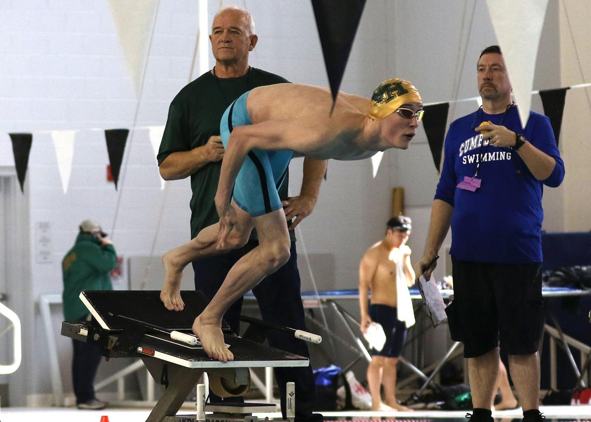 Ashaway resident CJ Sheldon, swimming for Bishop Hendricken High School, launches from his block at the start of the RIIL Boys State Championship 100 meter freestyle event held Saturday, February 29, 2020, at the Brown University Katherine Moran Coleman Aquatics Center, Providence, RI. Sheldon won the event with a time of 46.69. | Jackie L. Turner, Special to The Sun.