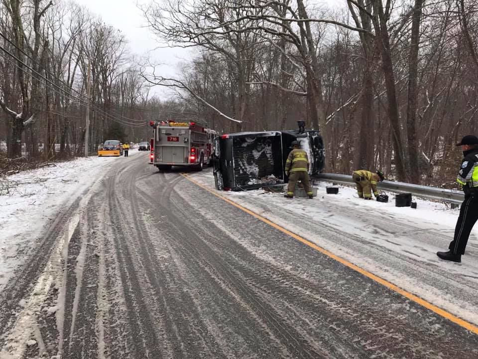 A mix of snow and sleet left roads a mess and led to a wide array of calls for minor accidents from Stonington through Richmond. In Charlestown, members of the Charlestown Fire Department and Charlestown Ambulance Rescue Service, assisted by Charlestown police, respond to a rollover without injuries that occurred around 3 p.m. along Route 112 near the Charlestown Elementary School. Courtesy Charlestown Richmond Fire Department