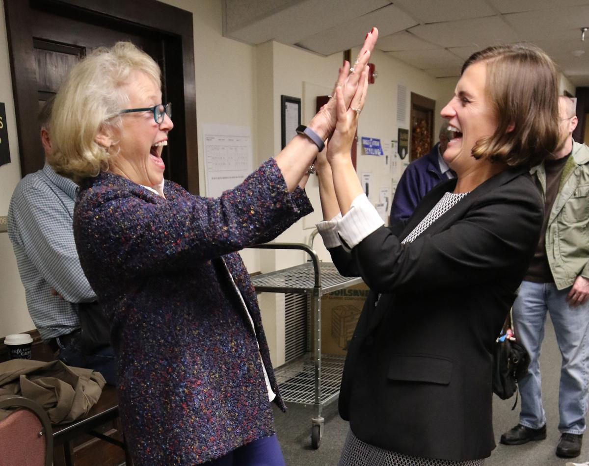 Democratic Selectwoman-Elect June Strunk (left) and First Selectwoman-Elect Danielle Chesebrough (right) congratulate each other after winning Stonington's top town office positions on Tuesdau, November 5th, 2019. | Jackie Turner, Special to The Sun.