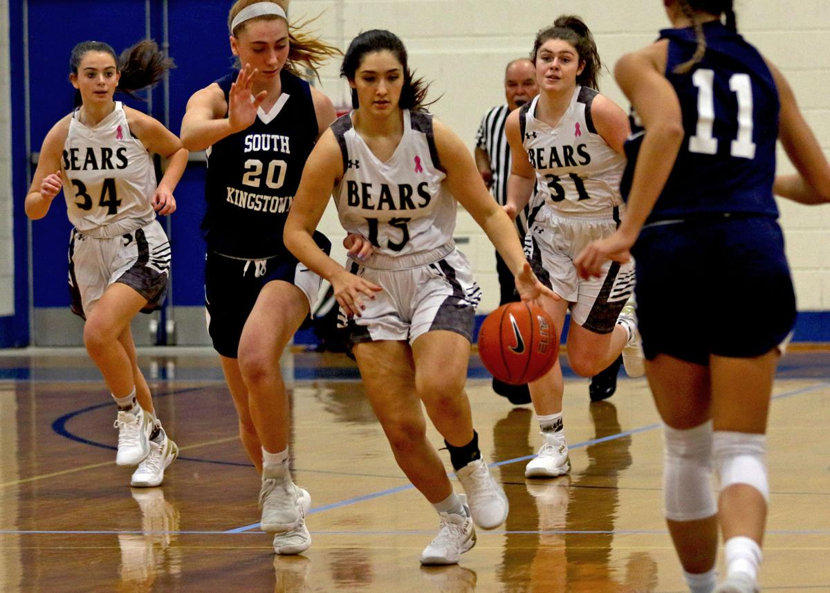 Stonington's Zoe Ribeiro handles the ball against South Kingstown during the WCCU Holiday Basketball Tournament in December. Ribeiro was an ECC Division-II first-team selection for the Bears this season. Jackie L. Turner, Special to The Sun.