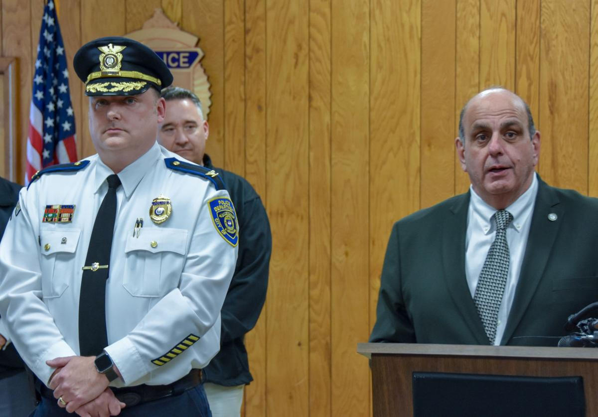 Col. Rick J. Rathbun is sworn in as chief of the Warwick Police Department on Monday. He was given his oath of office by Warwick Mayor Joseph J. Solomon. Courtesy Warwick Police Department/Town of Warwick