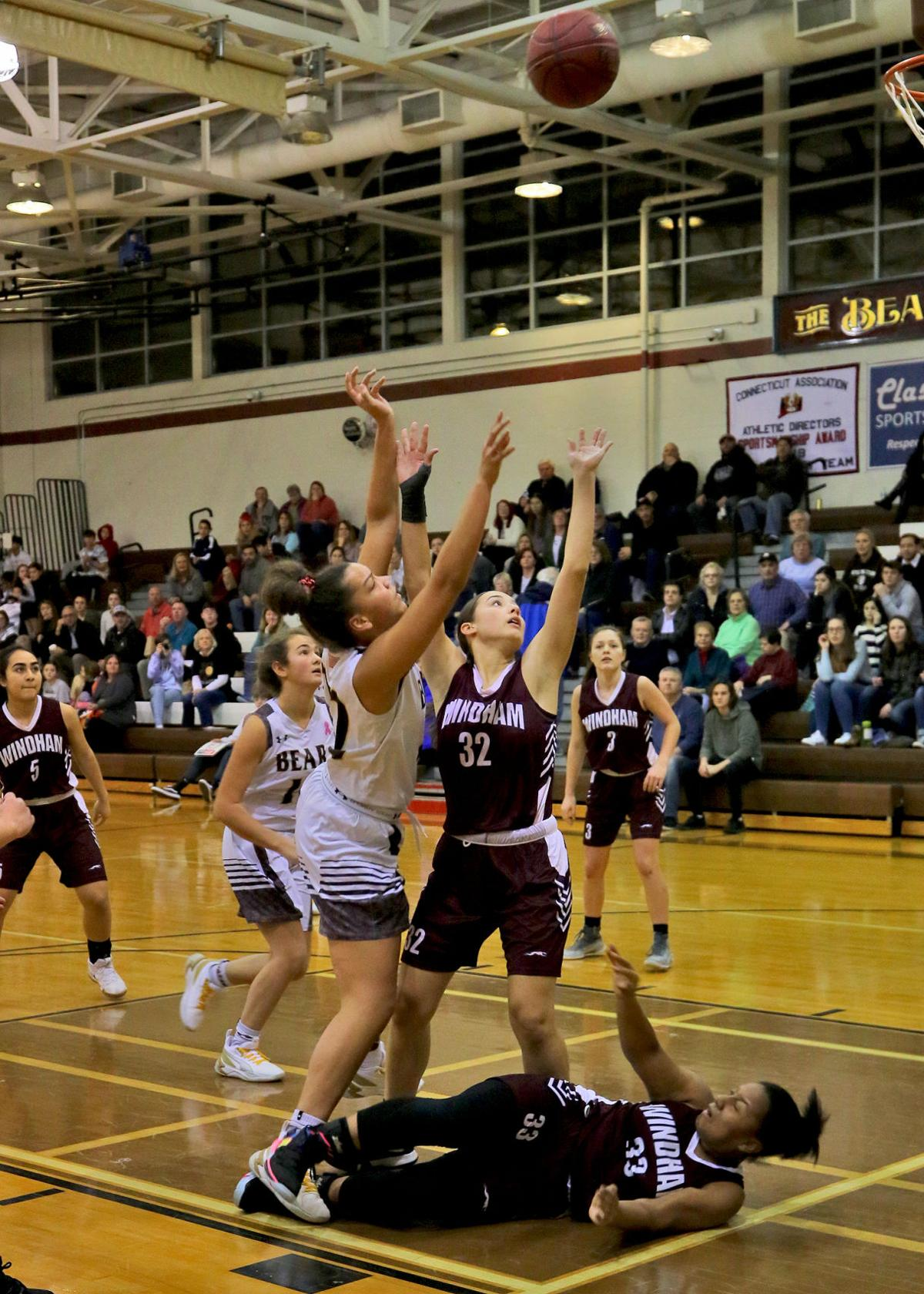 Stonington's Sophia Bell shoots from the lane during a game against Windham in January. Bell averaged 14.4 points and 13.6 rebounds to earn ECC Division-II honorable mention recognition.