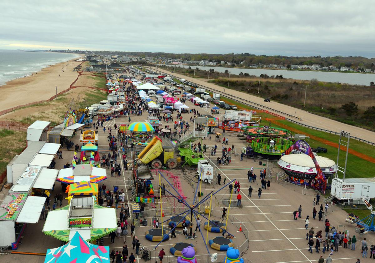 A view from above. The 2018 Misquamicut SpringFest carnival grounds, as seen from a seat on the Rockwell Amusements Ferris wheel Sunday afternoon. | Jackie Turner, Special to The Sun.