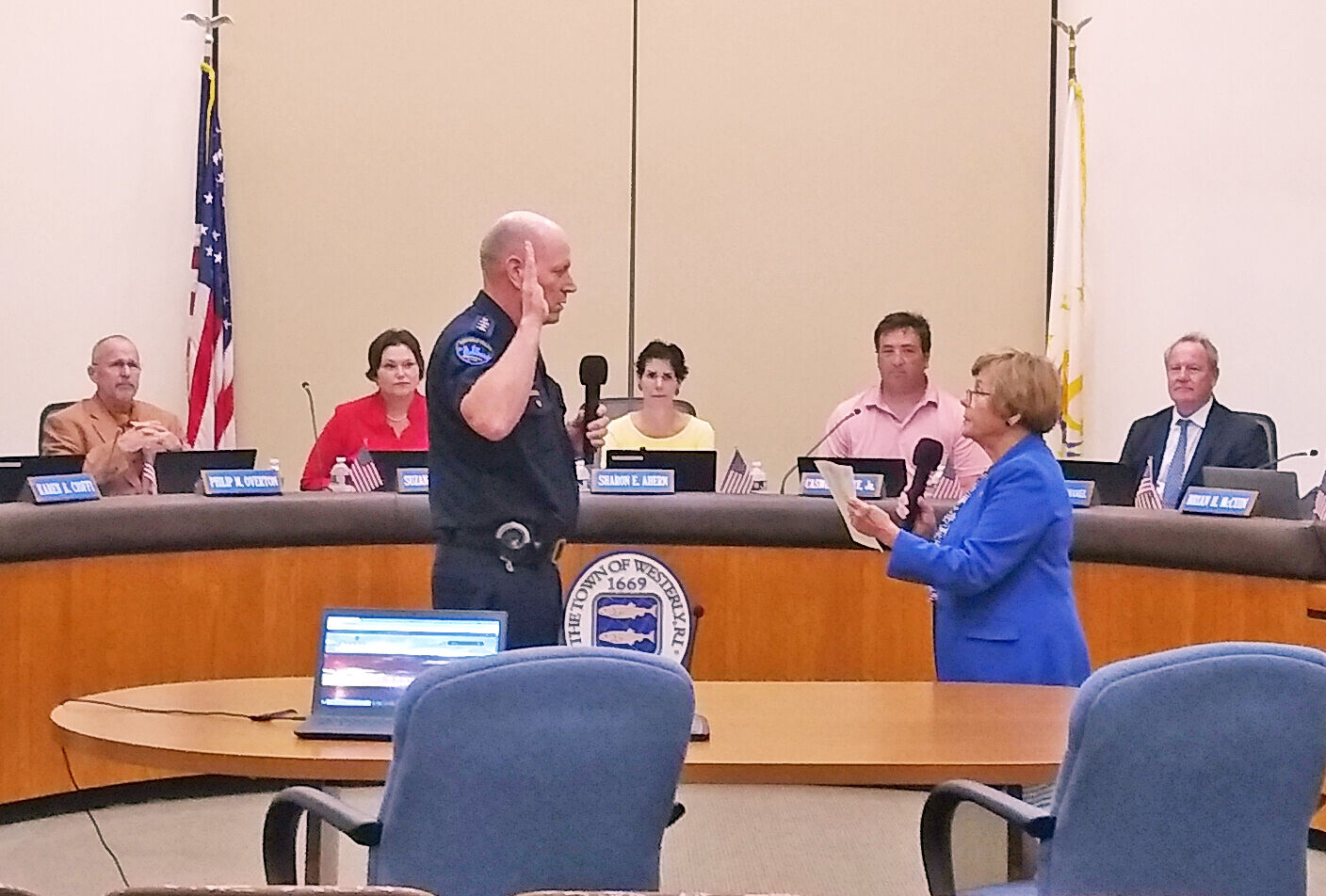 Lacey sworn in as acting town manager; Rooney recalls his time fondly