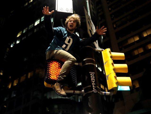 Philadelphians take to the streets to celebrate 41-33 Super Bowl win over Patriots