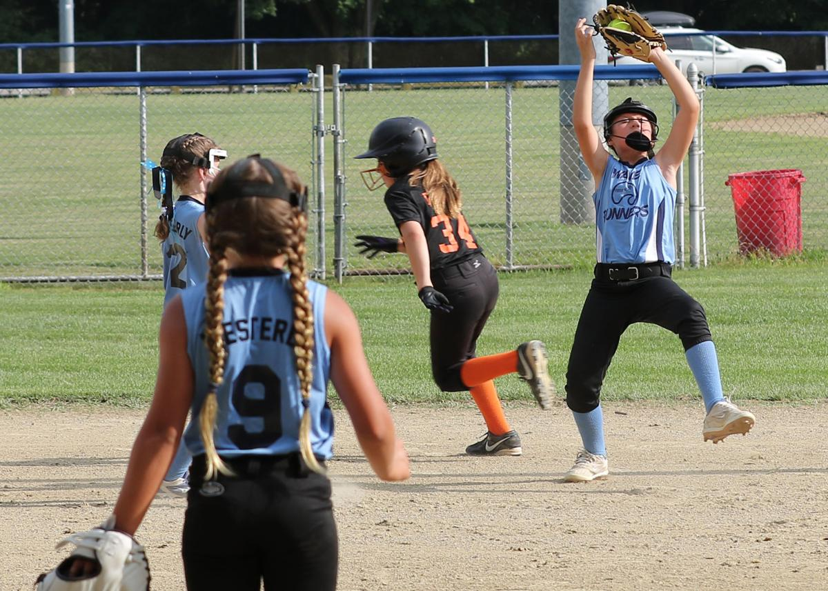 Westerly Wave Runner Nova Woodward catches a fly ball in the 10U Bash-On-The-Beach softball tournament game against the Bethlehem Bandits played Friday evening, July 12th, 2019 at Cimalore Field in Westerly. | Jackie L. Turner, Special to The Sun.