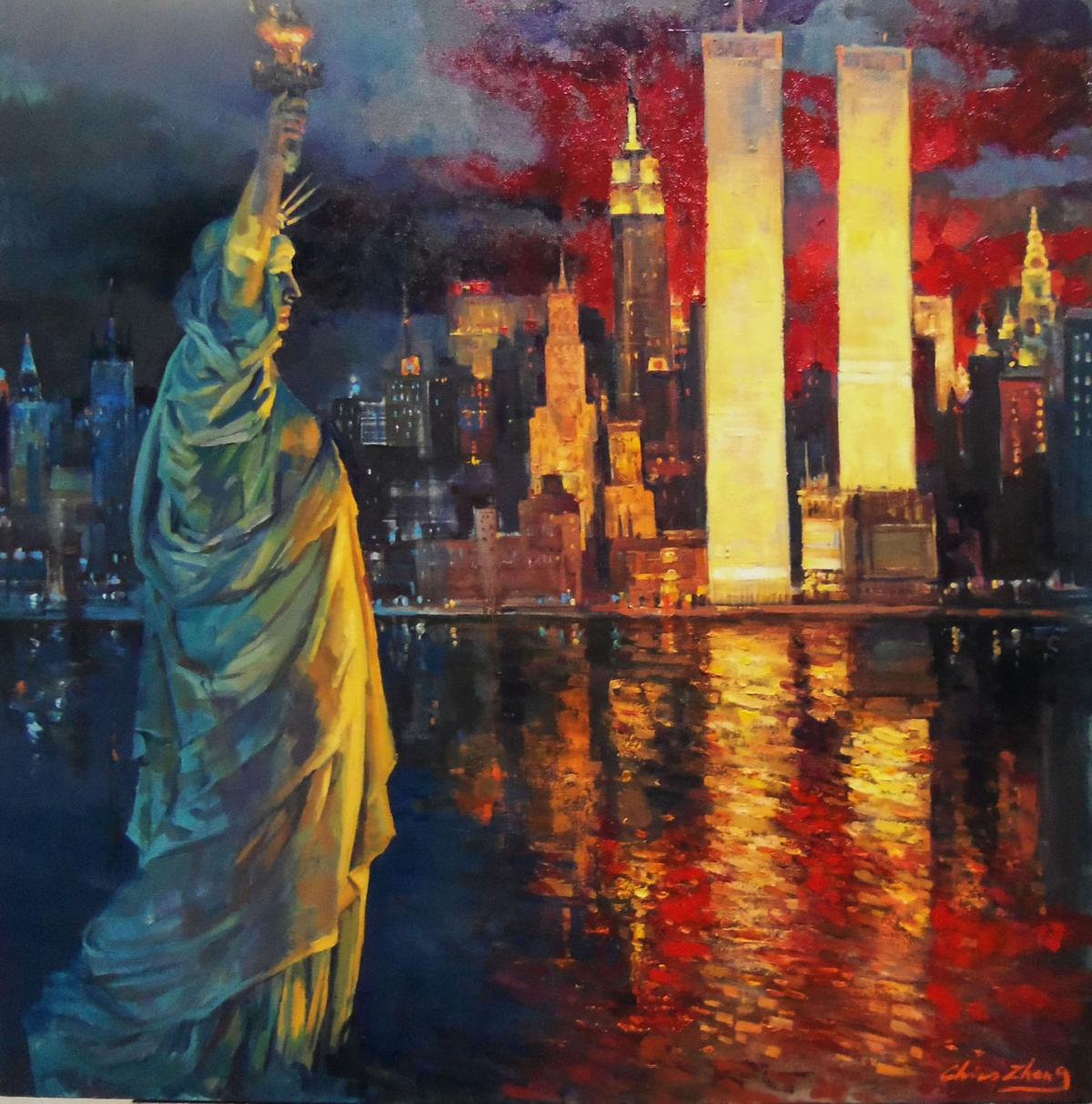 Christopher Zhang painting titled- STATUE OF THE LIBERTY, oil, 36 x 36.JPG