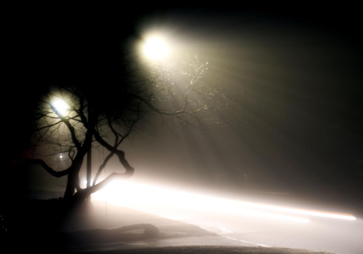 Foggy night in Pawcatuck