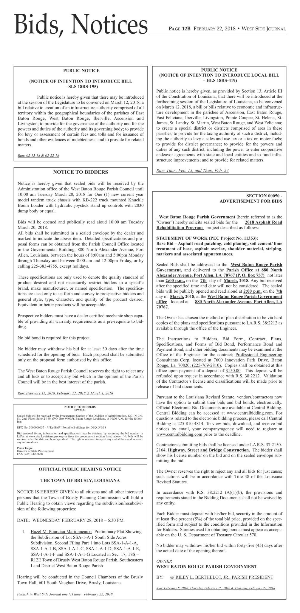 Bids & Notices 2/22/2018 (Classifieds asset)