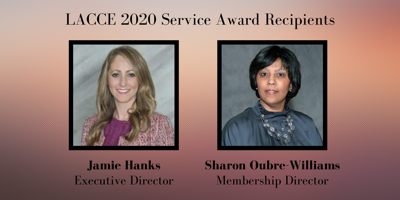 2020 LACCE service award recipients Sharon Oubre Williams and Jamie Hanks