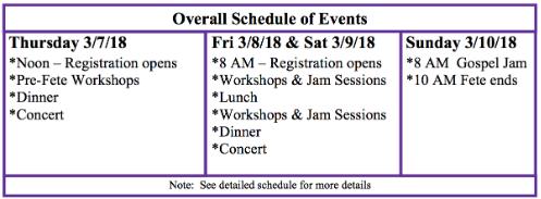 Dulcimer schedule
