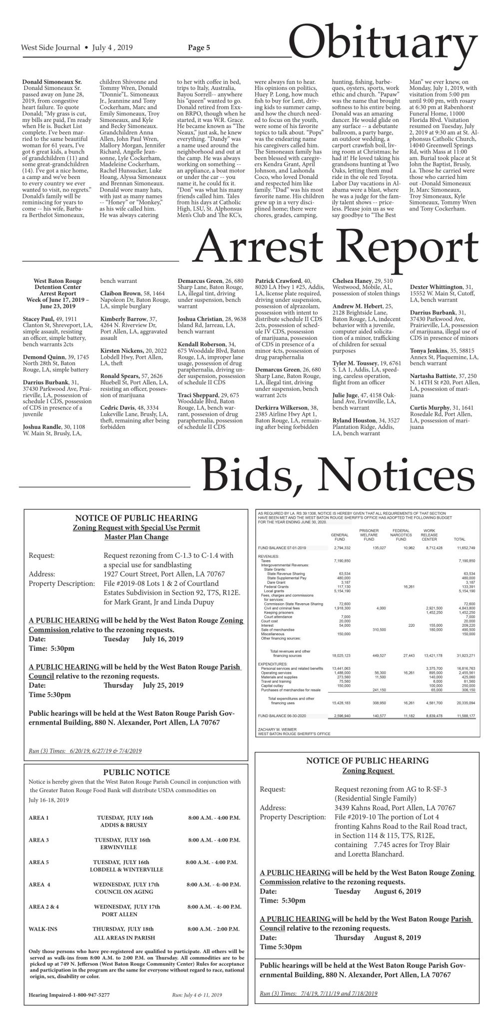 Bids and Notices, July 4, 2019
