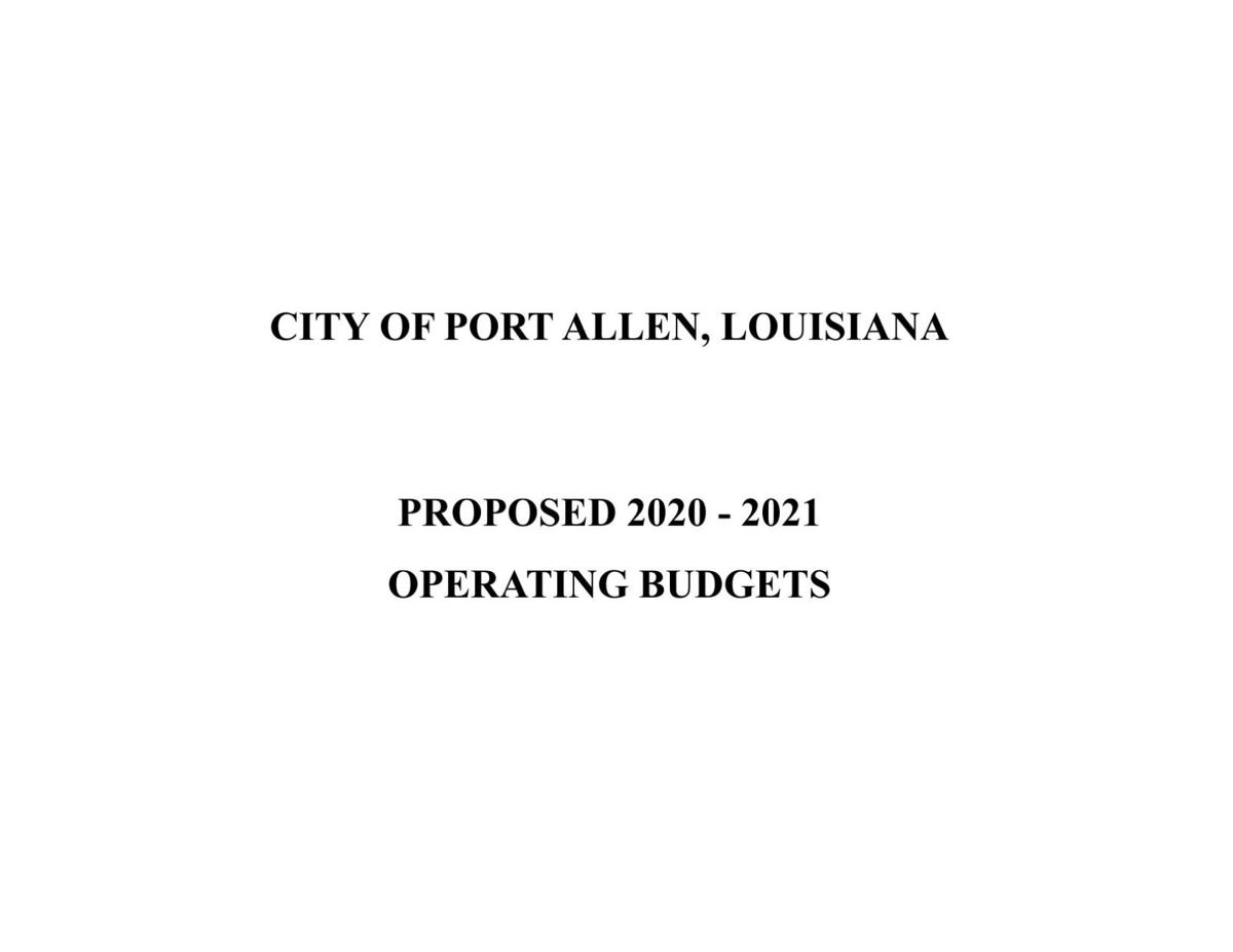 Port Allen Proposed 2020-21 Budget