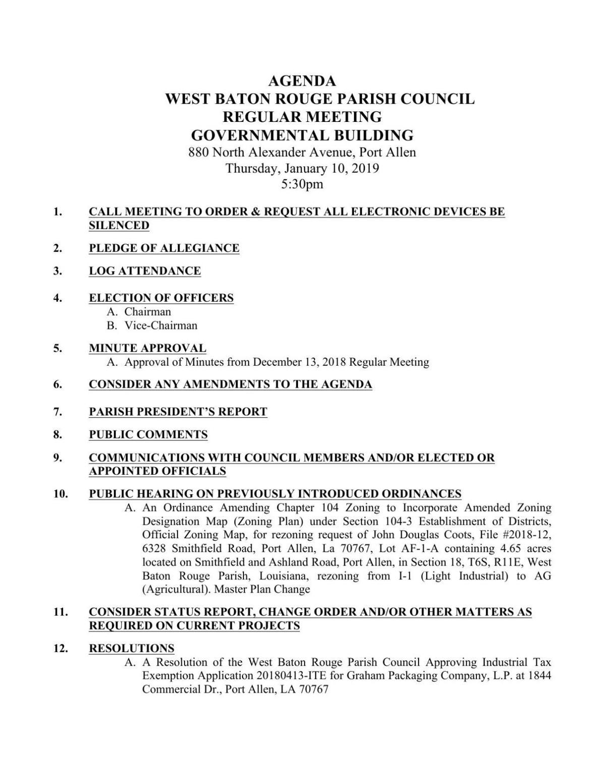 WBR Parish Council Meeting Agenda 1/10/19