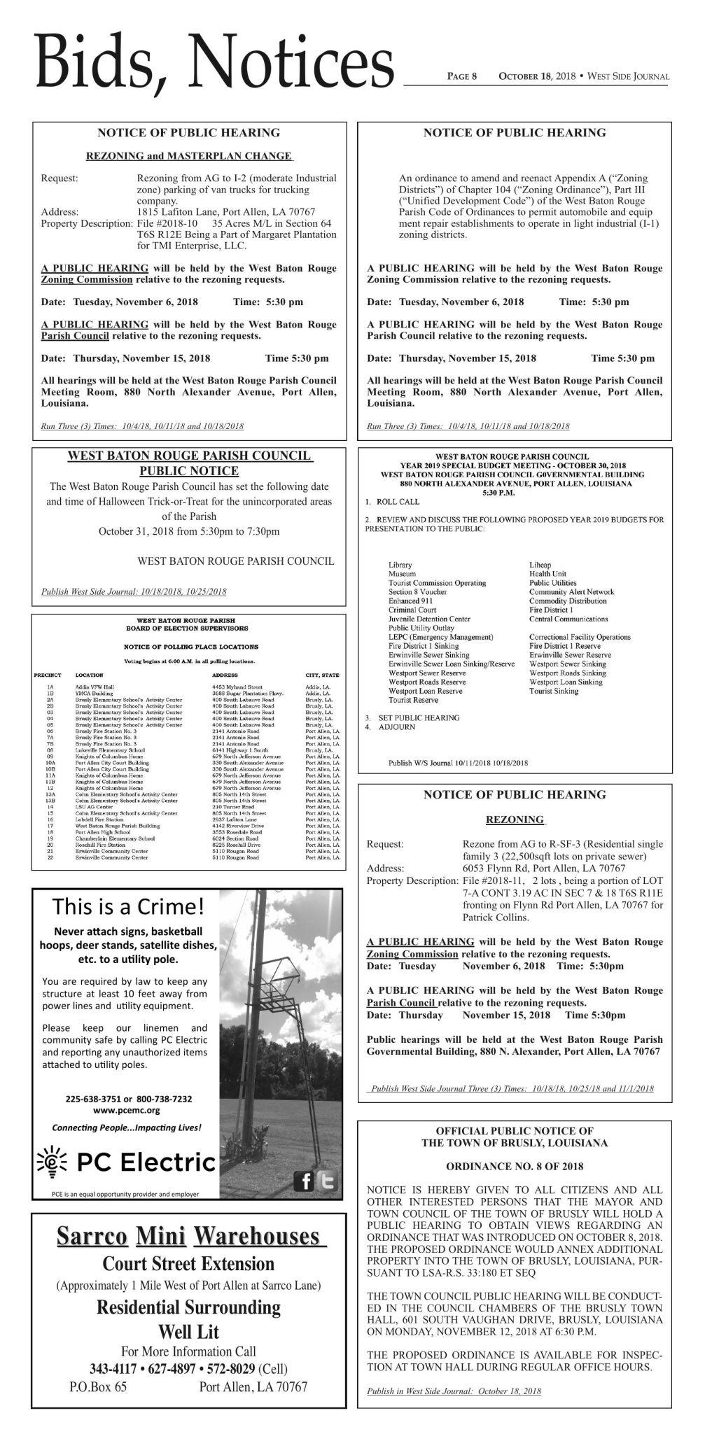 Bids & Notices 10/18/18