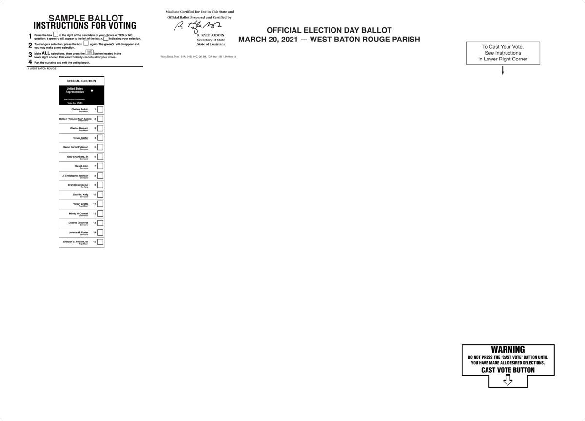 Sample Ballot for March 20 Special Election