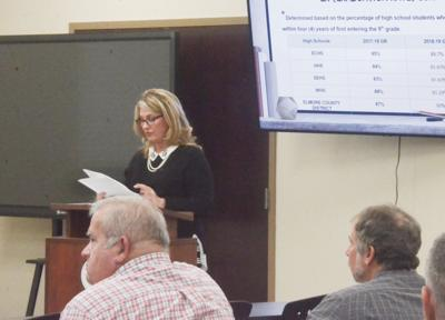 Amy Harrison discusses the county's graduation rate with the school board