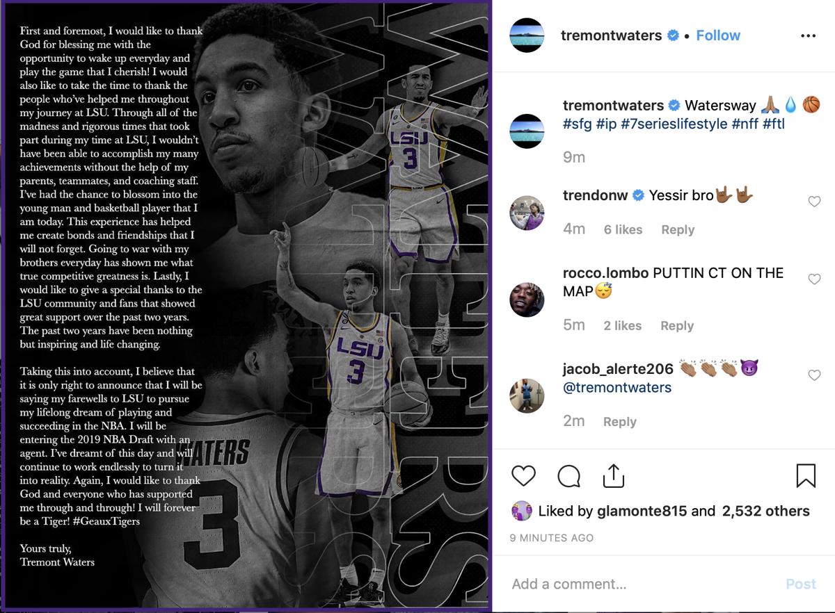 Tremont Waters Instagram post