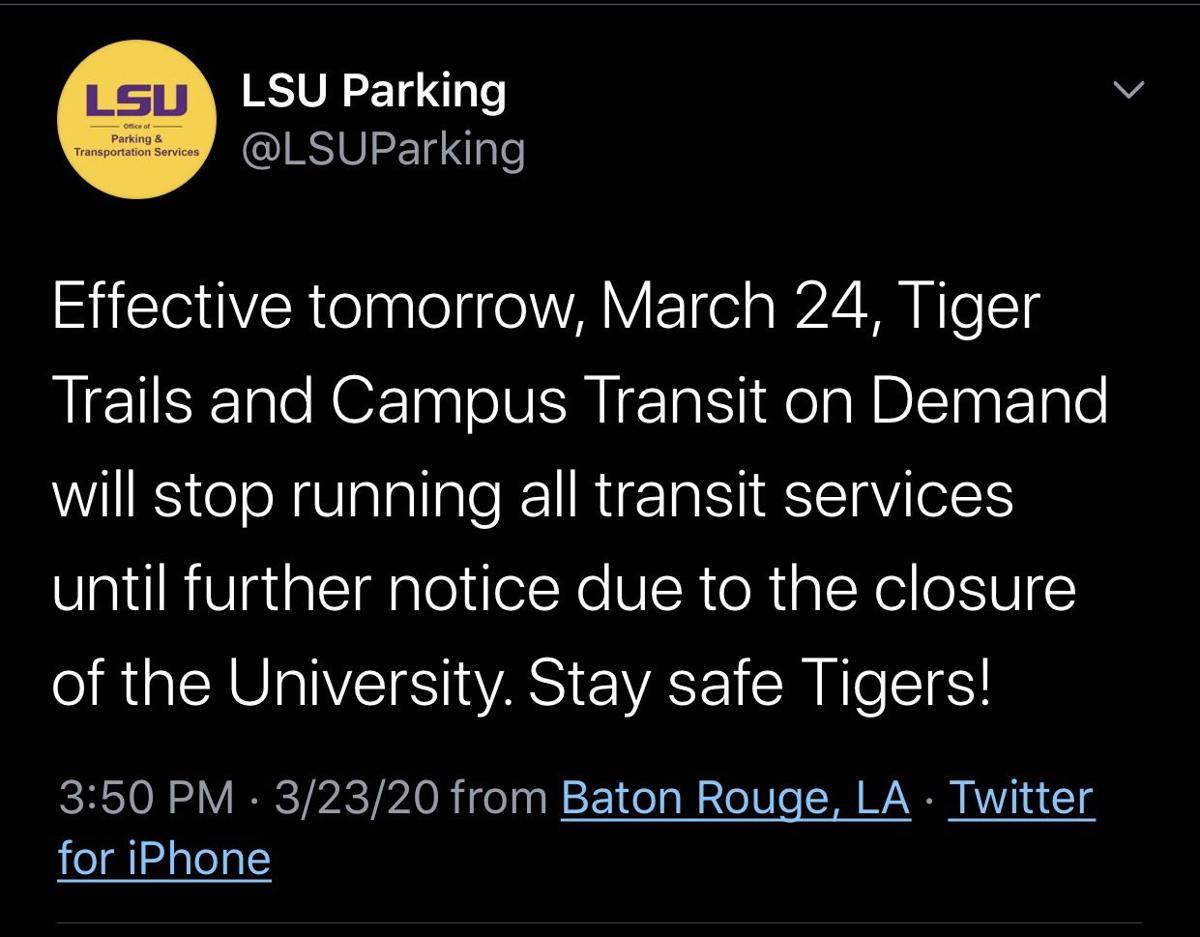 LSU Parking Tweet