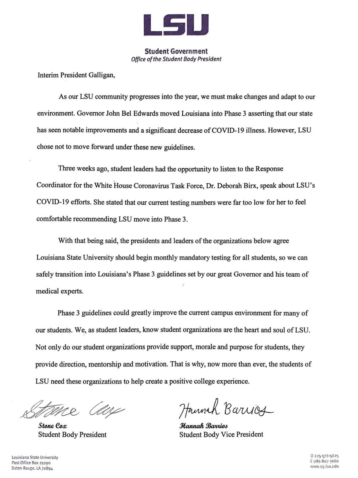 LSU Student Body President Letter