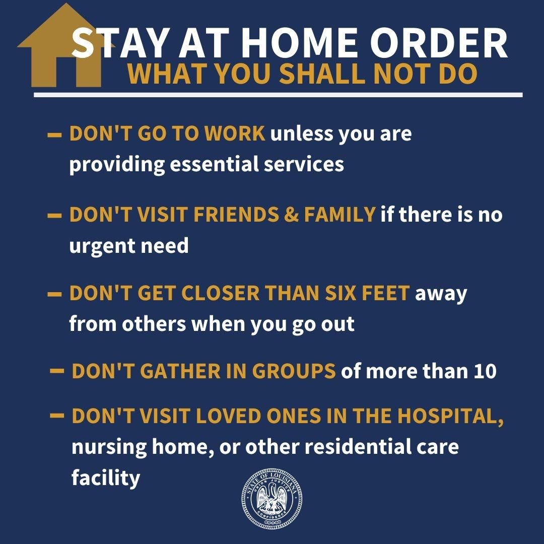 Stay at home order don'ts