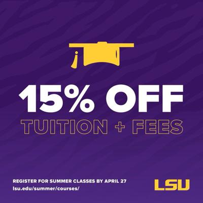 LSU spring intersession and summer discount graphic