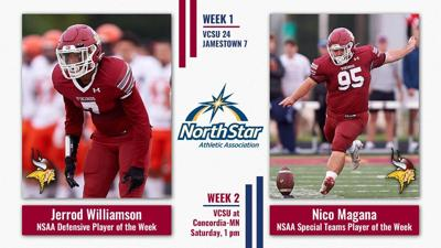 VCSU Football Players Named NSAA Players of the Week
