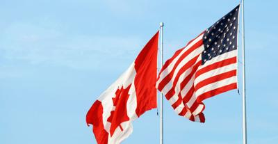 American and Canada Flags