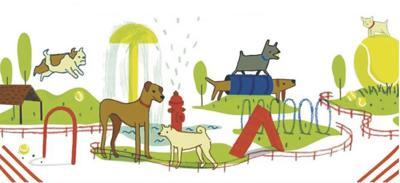 Dog Park Cartoon Drawing