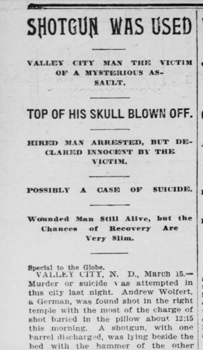 Wolfer Case - St. Paul Daily Globe March 16, 1897