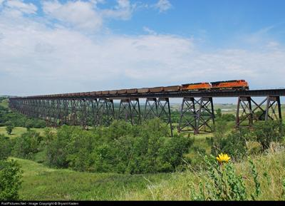 Train Going Over Hi-Line Bridge