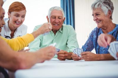 Senior Citizens Playing Cards