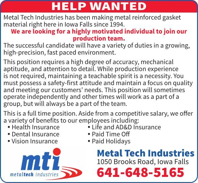 HELP WANTED: Metal Tech Industries