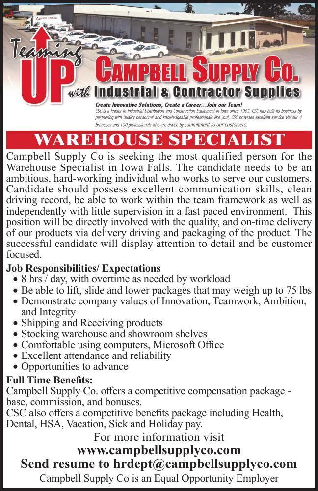 Warehouse Specialist