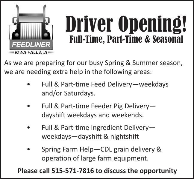 Driver Opening! Full-Time, Part-Time & Seasonal