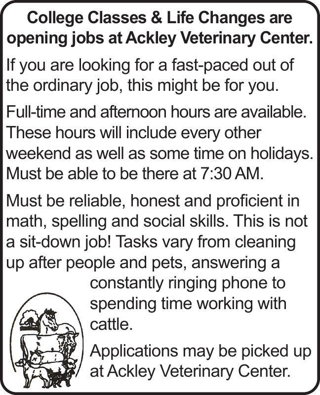 jobs at Ackley Veterinary Center