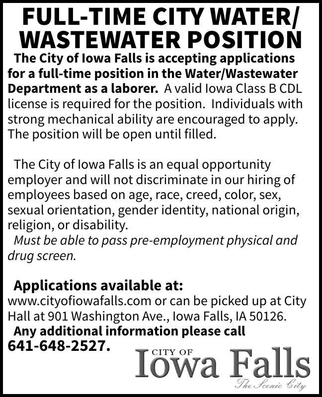 FULL-TIME CITY WATER/ WASTEWATER POSITION