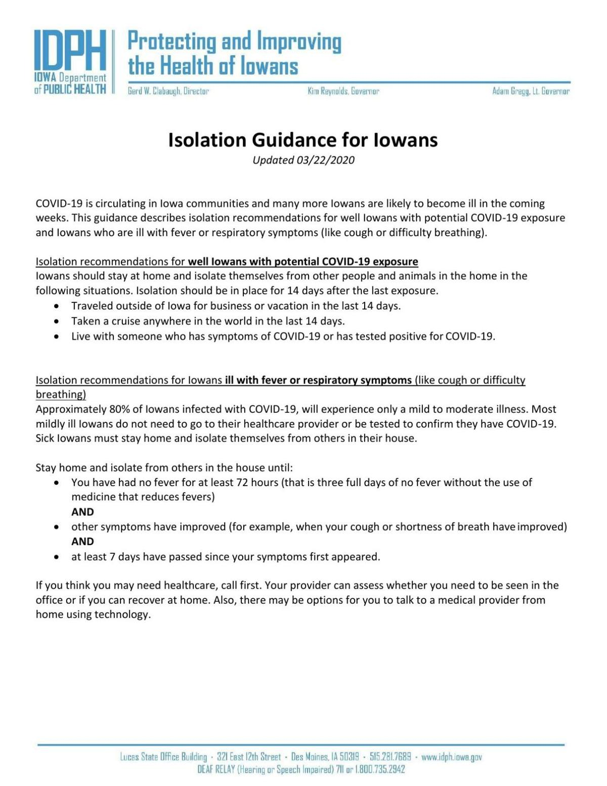 Isolation Guidance for Iowans