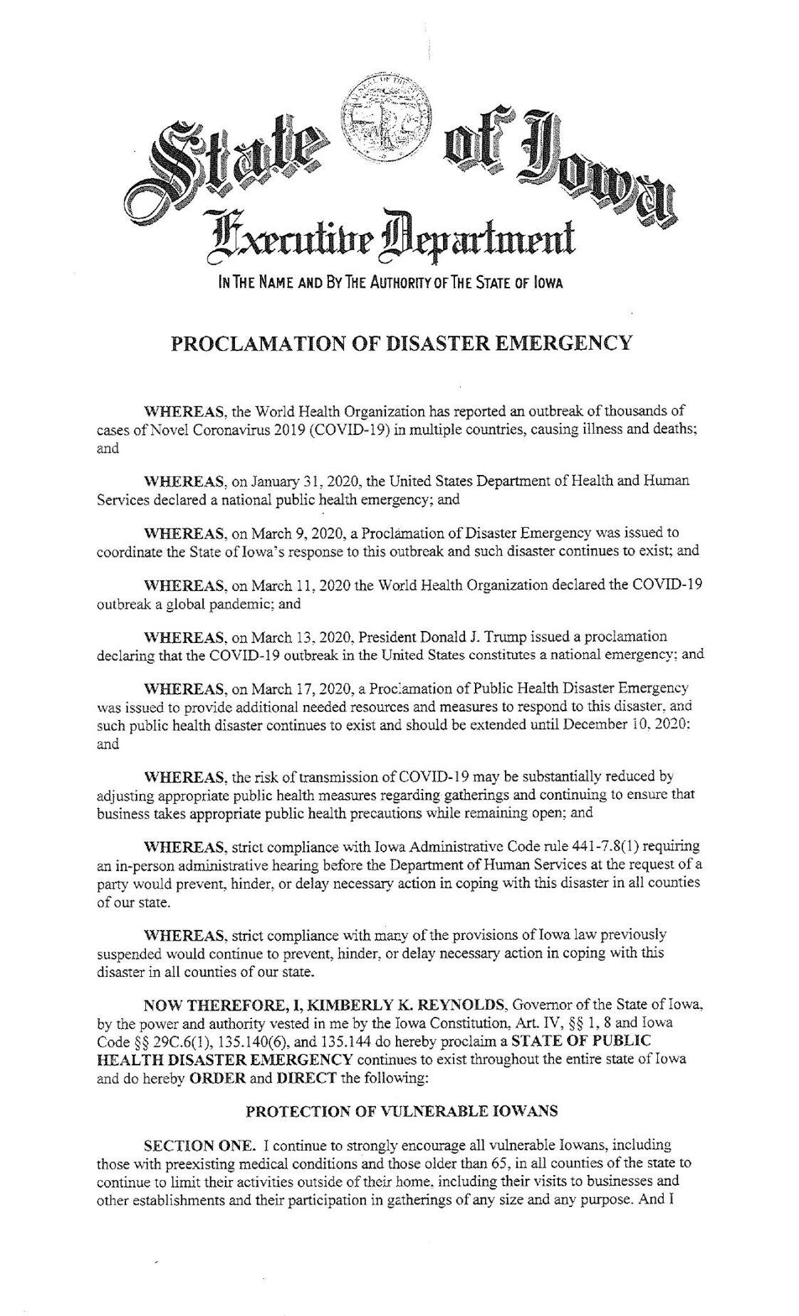 Kim Reynolds Public Health Proclamation