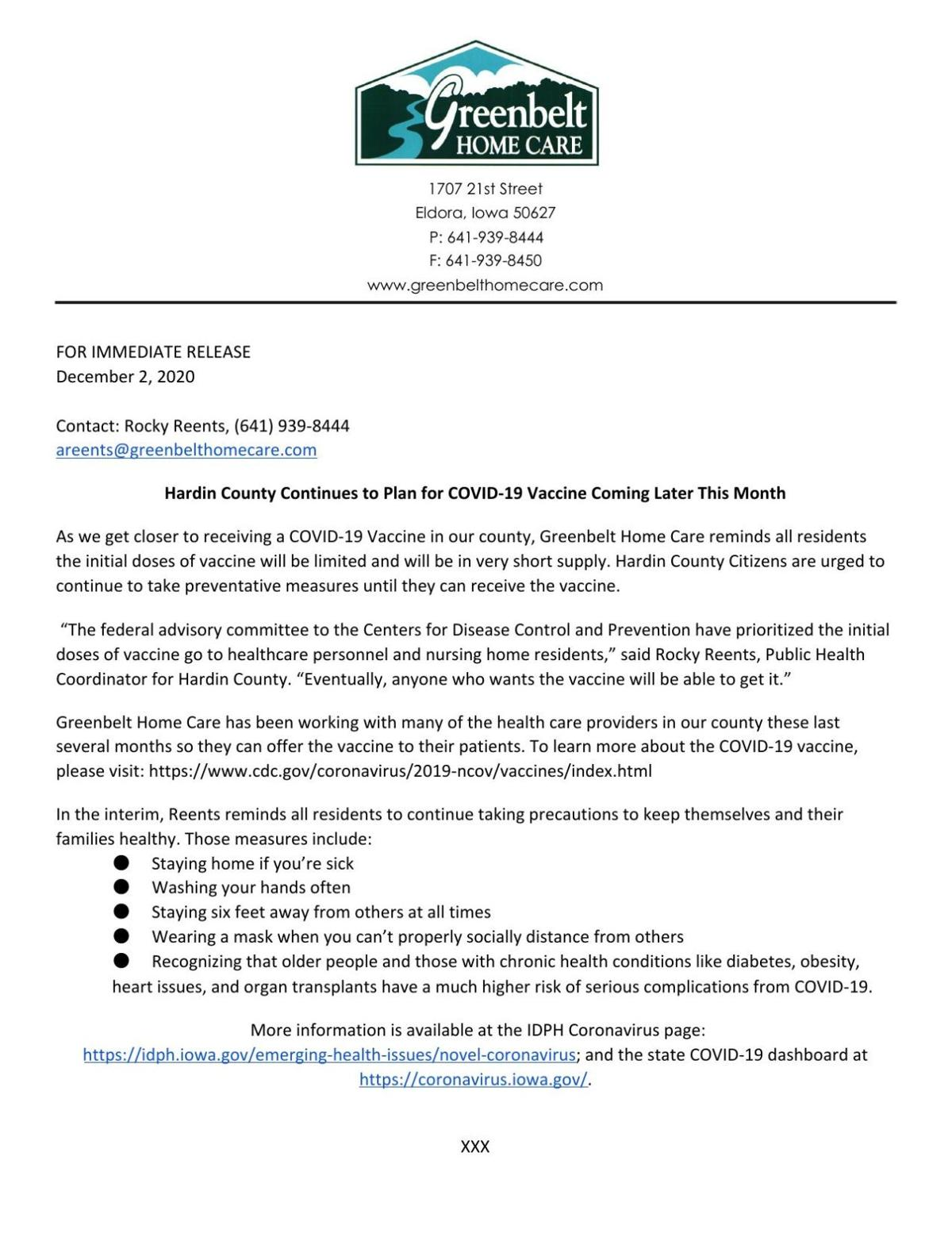 Hardin County Public Health Press Release 12-2-2020