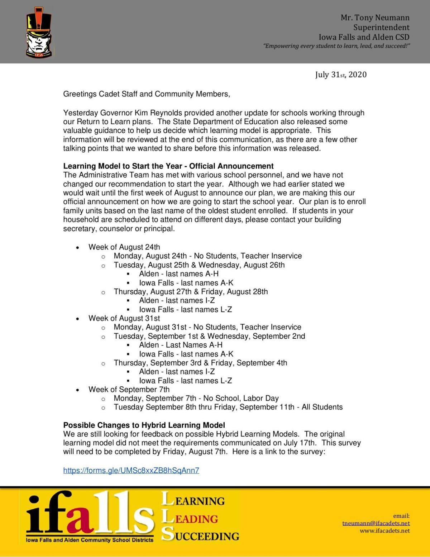Iowa Falls-Alden Return to Learn Letter July 31, 2020