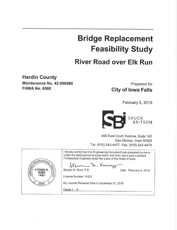 Elk Run Bridge Replacement Feasibility Study