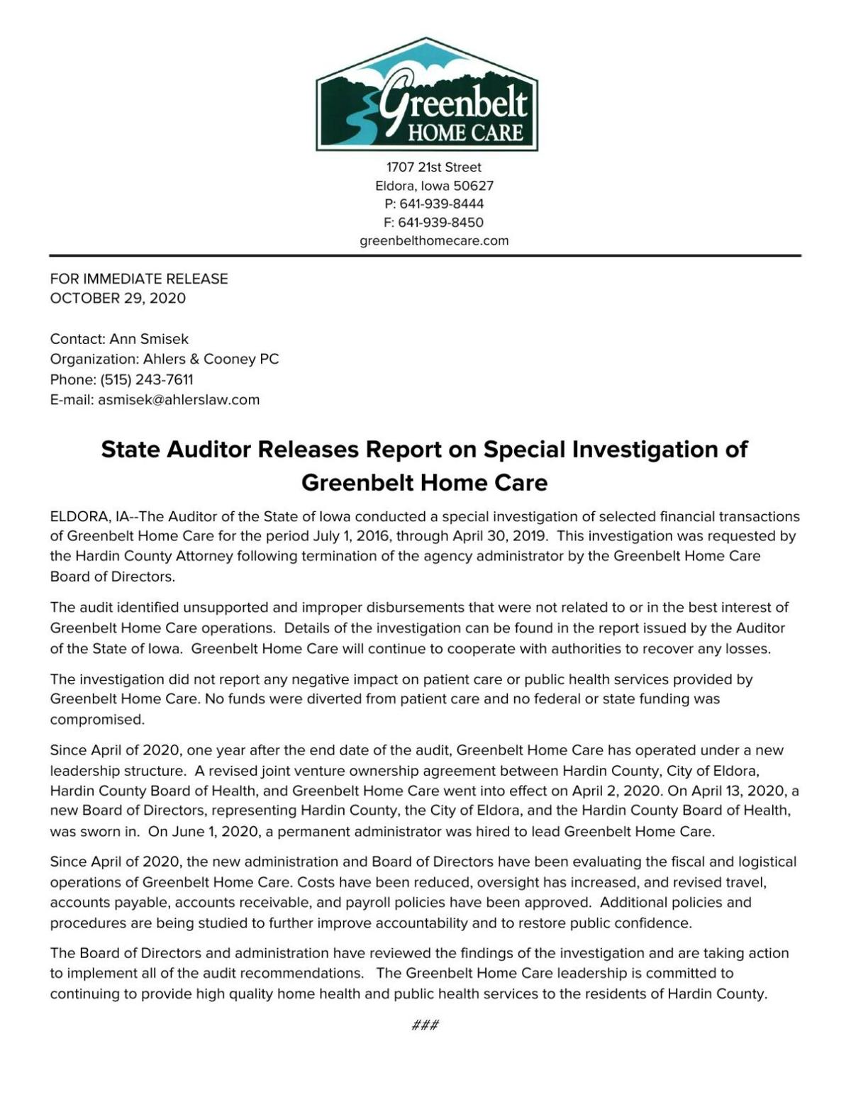 Greenbelt Home Care Audit Press Release