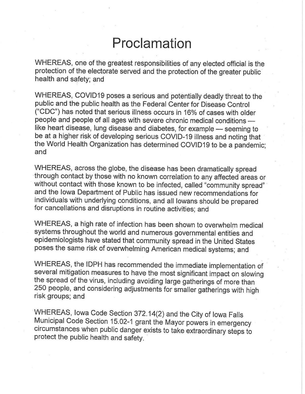 Iowa Falls COVID-19 Proclamation