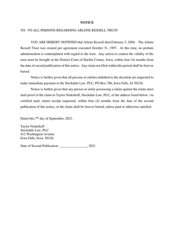 Arlene Kessell Trust Notice