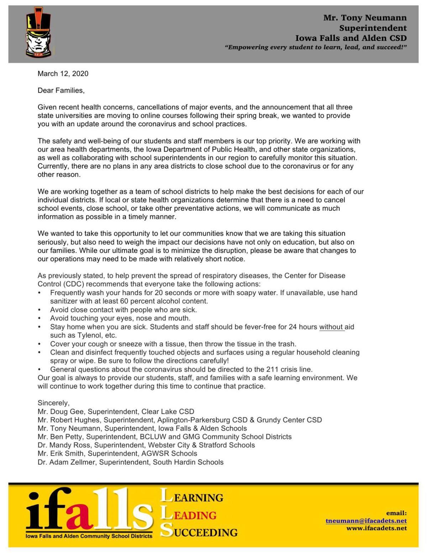 Local Schools COVID-19 Letter