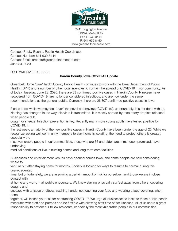 COVID-19 Press Release - June 23, 2020