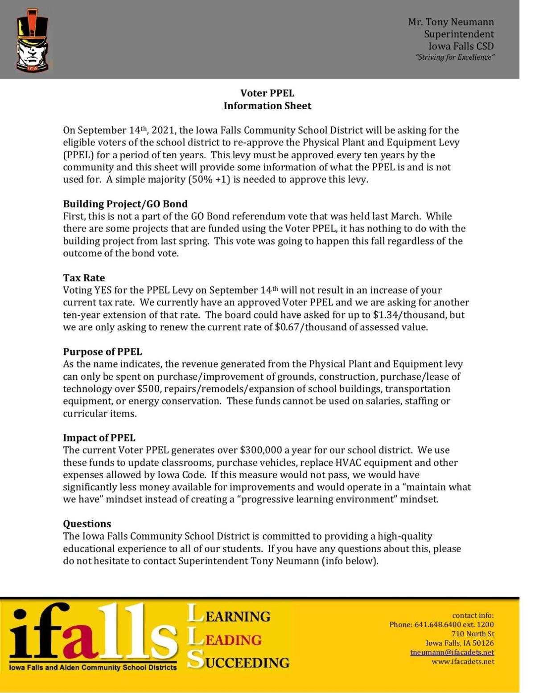 IF School District PPEL Information